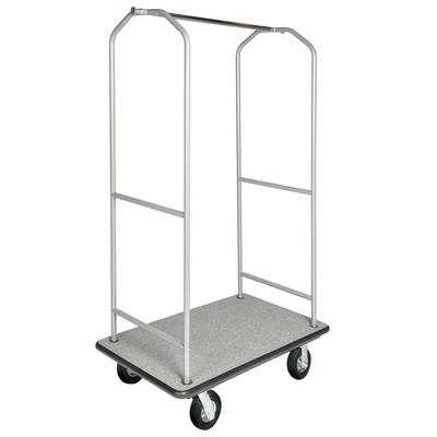 CSL 2005BK-060-GRY Upright Hotel Luggage Cart w/ Gray Carpet, Stainless on Sale