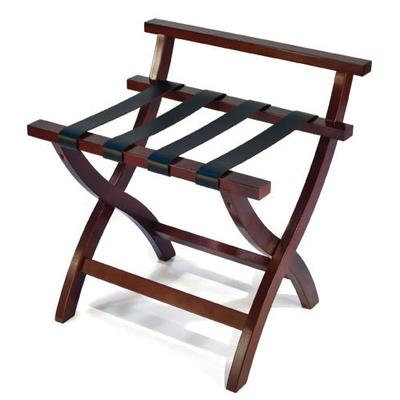 CSL 79MAH-L-1 High Back Luggage Rack w/ Black Leather Straps, Mahogany on Sale