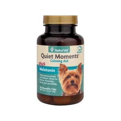 NaturVet Quiet Moments Calming Aid Plus Melatonin Tablets for Dogs, 30 count
