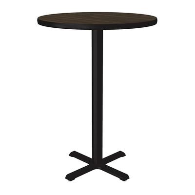 Correll BXB30R 01 30 Round Bar Cafe Table w/ 1.25 Pressure Top, 42 H, Walnut/Black on Sale
