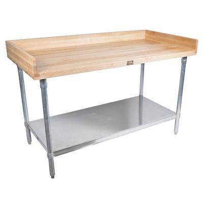 John Boos DNS07 48 Maple Top Bakers Table w/ 4 Splash & Undershelf, 30D on Sale