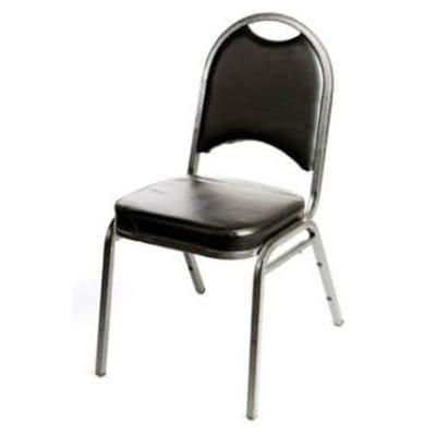 Oak Street SL2089-SV Stacking Banquet Chair w/ Round Back, Black Vinyl, Silver Frame on Sale
