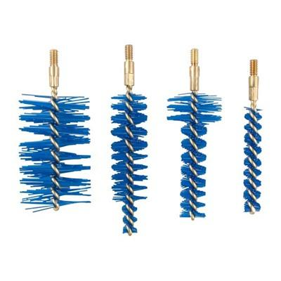 Dense, long-lasting Nyflex nylon brushes flex more than bronze brushes, so you can scrub back and forth in tight spaces without getting the brush stuck or risking damage to the bore. Kit contains distinctive blue brushes precisely sized to clean the...