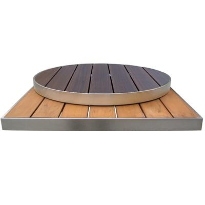emu 1490 26 Square Outdoor Table Top - Wood-Look Aluminum Slats, Oak on Sale