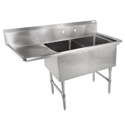 John Boos 2B18244-1D18L 58 2 Compartment Sink w/ 18L x 24W Bowl, 14 Deep on Sale