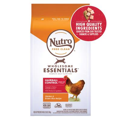 Nutro Wholesome Essentials Adult Hairball Control Farm-Raised Chicken & Brown Rice Recipe Natural Dry Cat Food, 3 lbs.