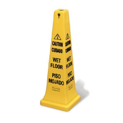 Rubbermaid FG627677YEL Safety Cone - Caution Wet Floor Multi-Lingual, Yellow on Sale