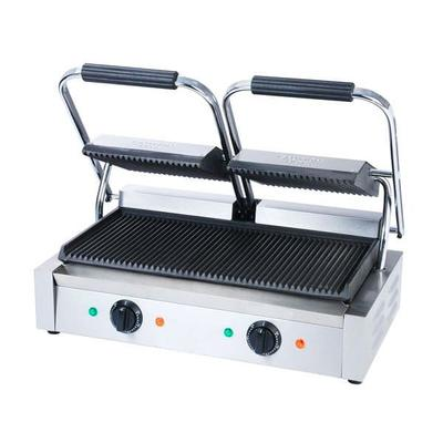 Adcraft SG-813 Double Commercial Panini Press w/ Cast Iron Grooved Plates, 120v on Sale
