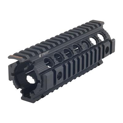 Troy\'s Enhanced Drop-In Rail is a non-free-floating direct replacement for all M4/M16 plastic hand guards utilizing the carbine, mid-length, and rifle-length gas systems. Easy to install; no gunsmithing required. Includes MIL-STD Picatinny Rails at 12,...