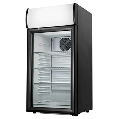 SB: Cecilware CTR2.68LD Black Countertop Display Refrigerator with Swing Door - 2.7 cu. ft. This Cecilware CTR2.68LD countertop display refrigerator allows you to put your most enticing packaged foods and beverages on display to increase impulse sales! This refrigerated merchandiser boasts a 1/8 hp compressor that uses R-134a refrigerant to...