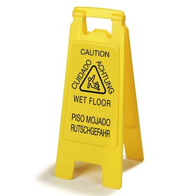 Carlisle 3690904 Wet Floor Safety Sign - 11x25 2 Sided, Multi-Lingual, Polypropylene, Yellow on Sale