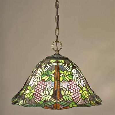 Vintage Grapevine Stained Glass Ceiling Light Olive , Olive