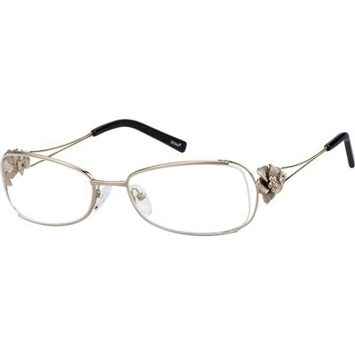 Zenni Women's Rectangle Prescription Glasses Gold Floral Metal Frame