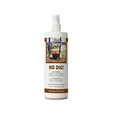 NaturVet Pet Organics No Dig! Lawn & Yard Spray for Dogs & Cats, 16-oz bottle; No-DIG! spray is an all-natural herbal and plant compound with special essential oils, formulated to harmlessly help train dogs and cats not to dig.