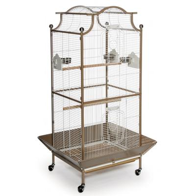 Our Prevue Pagoda Cage offers a roomy, roof-top design. Three stainless steel cups and two wood perches are included. Heavy-duty push button door lock keeps your bird secure. Castered base lets you move cage easily from room to room.