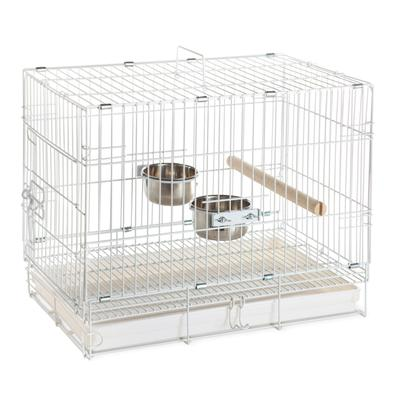 An ideal solution for short-term traveling with your bird. 2 stainless steel dishes and 1 perch are included. Side access door allows bird to walk right into cage. Cage folds flat for easy storage.