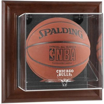 """Chicago Bulls Brown Framed Wall-Mountable Team Logo Basketball Display Case"""