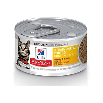 Hill's Science Diet Adult Urinary Hairball Control Chicken Entree Canned Cat Food, 2.9-oz, 24ct