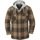 Gravel Gear Sherpa-Lined Hooded Flannel Shirt Jacket - XL, Tan