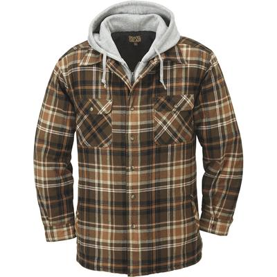 Gravel Gear Sherpa-Lined Hooded Flannel Shirt Jacket - XL, Tan, Men's