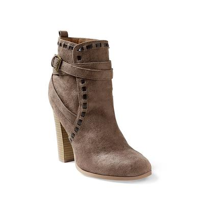 """Wrap Stitch Detail Booties - Brown/neutral"""