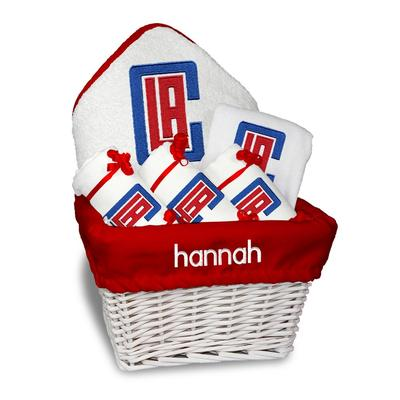 """Newborn & Infant White LA Clippers Personalized Medium Gift Basket"""
