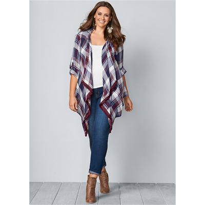 Plaid And Fringe Cardigan Tops -...