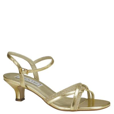 *This strappy kitten-heeled sandal features metallic material paired with glitter *Synthetic upper with an adjustable ankle strap for a proper fit *Lightly cushioned footbed *1-3/4\