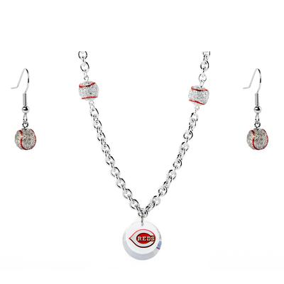 """Cincinnati Reds Crystals from Swarovski Baseball Necklace & Earrings"""