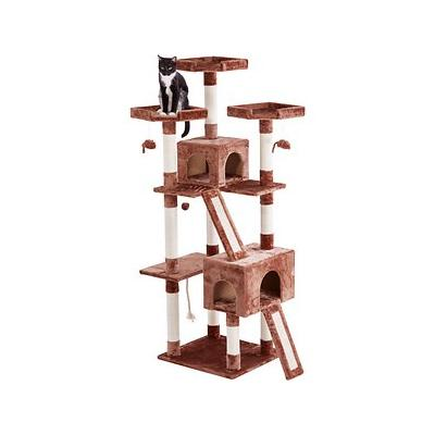 Frisco 72-in Cat Tree, Brown; The Frisco 72-Inch Cat Tree is the ultimate all-in-one spot for your kitty to do all the things she loves, from lounging to leaping to honing her expert hunting skills. Frisky cats can jump from perch to perch as they...