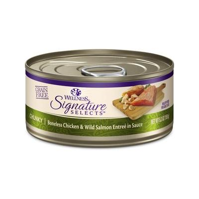 Wellness CORE Signature Selects Chunky Boneless Chicken & Wild Salmon Entree in Sauce Grain-Free Canned Cat Food, 5.3-oz, case of 12