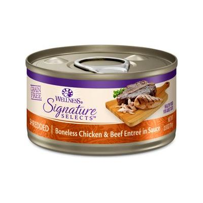 Wellness CORE Signature Selects Shredded Boneless Chicken & Beef Entree in Sauce Grain-Free Canned Cat Food, 2.8-oz, case of 12