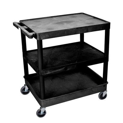 Luxor TC221-B 3 Level Polymer Utility Cart w/ 400 lb Capacity - Raised Ledges, Black on Sale