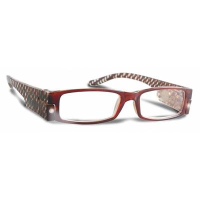 PS Designs 02138 - Brown Stripe - 2.75 Bright Eye Readers (PRG7-2.75) 2.75 Magnification LED Reading Glasses