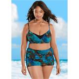 Plus Size Criss Cross Wrap TOP Sport Bikini Tops - Blue/brown