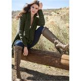 Open Knit Cardigan Sweaters - Green