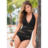 Peek-A-Boo Halter One-Piece One-Piece Swimsuits & Monokinis - Black/white