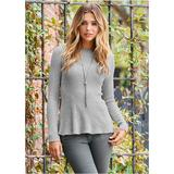 Ribbed Peplum Sweater Sweaters - Grey