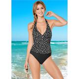 Wrap Front Halter One-Piece One-Piece Swimsuits & Monokinis - Black/white