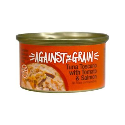 Against the Grain Tuna Toscano with Tomato & Salmon Dinner Grain-Free Wet Cat Food, 2.8-oz, case of 24