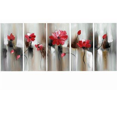 Design Art Modern Flower 5 Piece Painting Print On Wrapped Canvas Set Pt1104 401 Red Shefinds