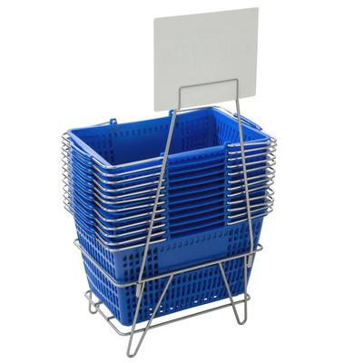 """Regency Blue 18 3/4"""" x 11 1/2"""" Plastic Grocery Market Shopping Baskets with Stand and Sign"""