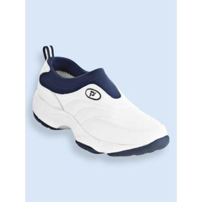 Men's Propet® Wash & Wear Leather and Suede Slip-Ons, White/Navy 10 M Medium