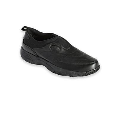 Men's Propet® Wash & Wear Leather and Suede Slip-Ons, Black 9.5 Extra Wide