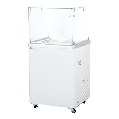 Excellence Industries EDC-4HC 24.75 Stand Alone Ice Cream Dipping Cabinet w/ 3 Tub Capacity - White, 115v on Sale