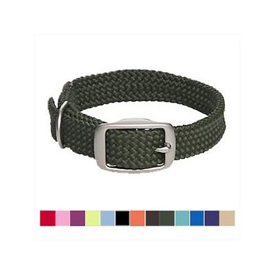 Mendota Products Double Braid Dog Collar, Olive, 21-in