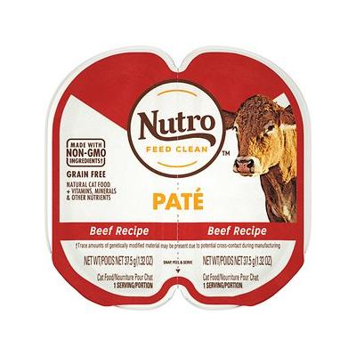 Nutro Perfect Portions Grain-Free Beef Recipe Pate Adult Cat Food Trays, 2.64-oz, case of 24 twin-packs