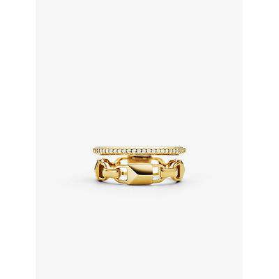 Michael Kors Precious Metal-Plated Sterling Silver Mercer Link Pavé Halo Ring Gold 5