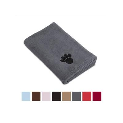 Bone Dry Embroidered Paw Print Microfiber Bath Towel, Gray