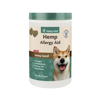 NaturVet Hemp Allergy Aid Plus Hemp Seed Dog Soft Chews, 60 count